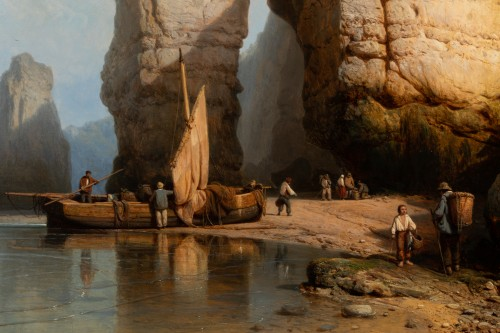 19th century -  The Cliffs of Flamborough Head - Charles Joseph Kuwasseg (1802 - 1877)