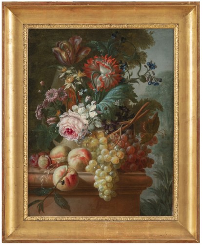 Francois-Nicolas Laurent (1780- 1828) - Vase of flowers and fruits on an entablature