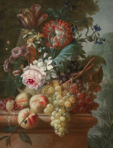 Francois-Nicolas Laurent (1780- 1828) - Vase of flowers and fruits on an entablature - Paintings & Drawings Style