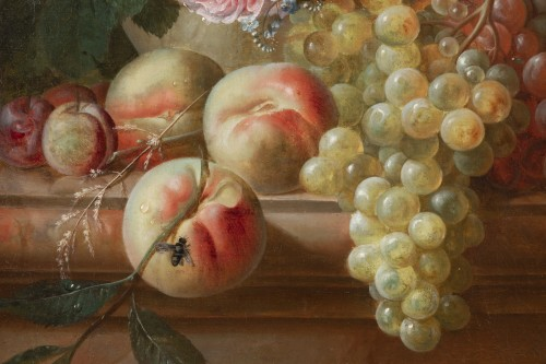 Francois-Nicolas Laurent (1780- 1828) - Vase of flowers and fruits on an entablature -