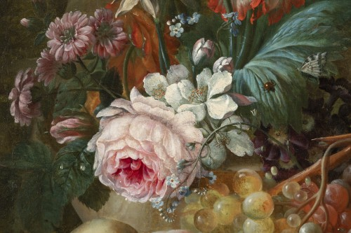 19th century - Francois-Nicolas Laurent (1780- 1828) - Vase of flowers and fruits on an entablature