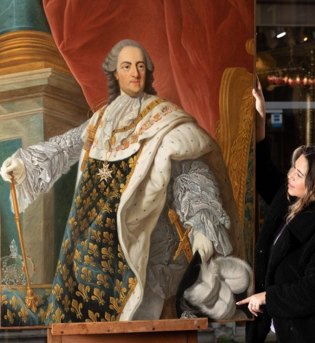 Paintings & Drawings  - Portrait of Louis XV in coronation attire, french school of the 9th century