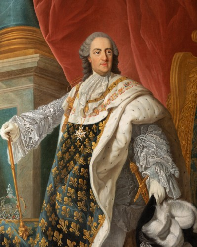 Antiquités - Portrait of Louis XV in coronation attire, french school of the 9th century
