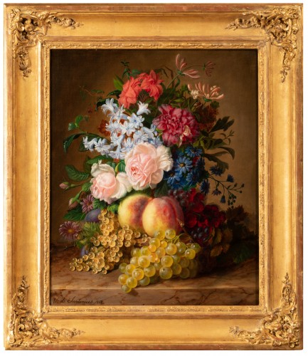 Virginie de Sartorius (1828-1908) - Still life with bouquet and fruits