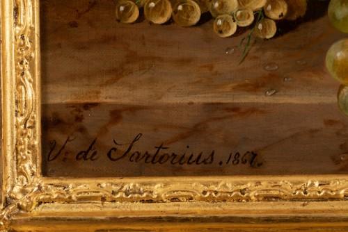 Antiquités - Virginie de Sartorius (1828-1908) - Still life with bouquet and fruits