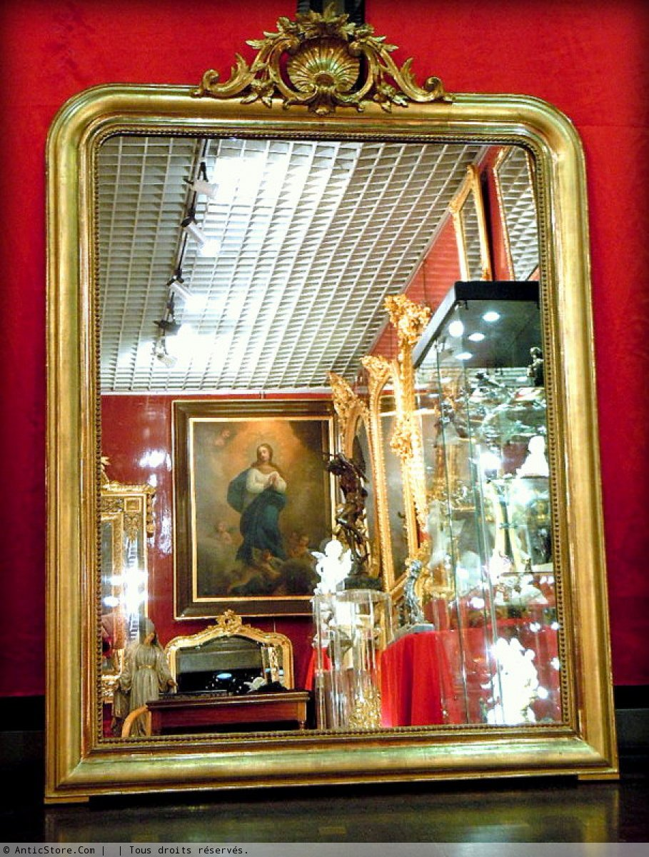 large miroir louis philippe xixe si cle. Black Bedroom Furniture Sets. Home Design Ideas