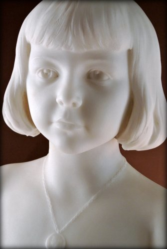 - Marble bust of a young child - Augustin LESIEUX