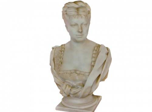 White marble bust signed h icard