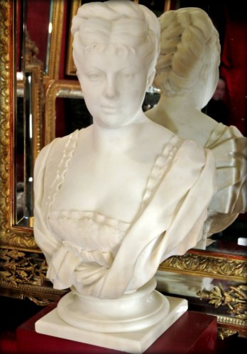 White marble bust signed h icard - Sculpture Style Napoléon III