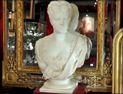 White marble bust signed h icard -