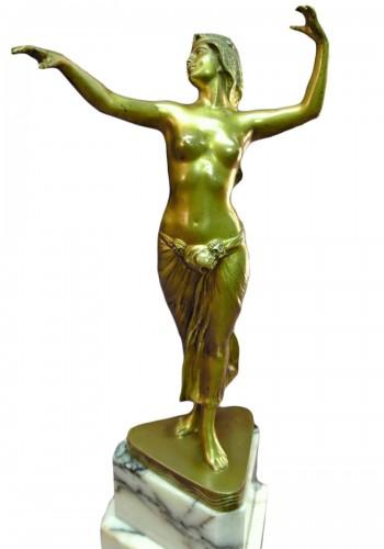 Bronze danser in art deco style signed morin