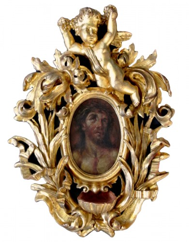 A XVIIIth century giltwood holy water stoup