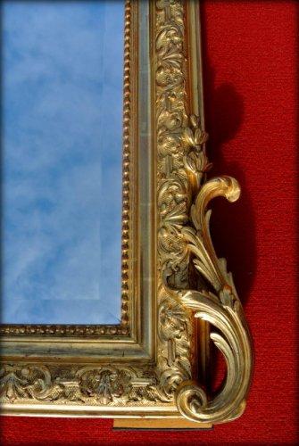 Large 19th century mirror with pediment - Mirrors, Trumeau Style Napoléon III