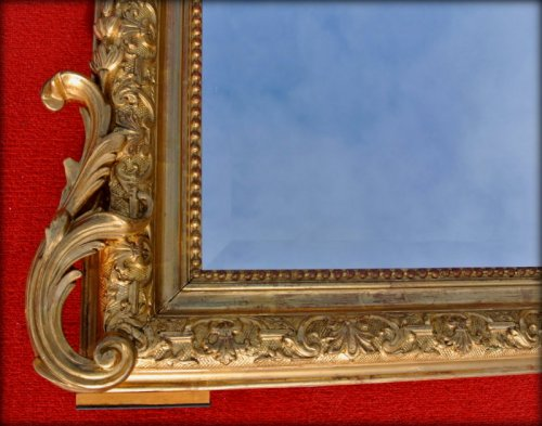 Mirrors, Trumeau  - Large 19th century mirror with pediment