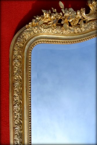Large 19th century mirror with pediment -