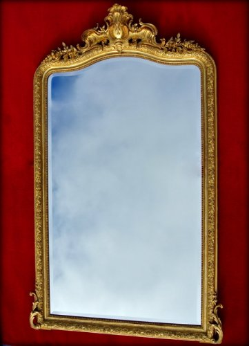 Large 19th century mirror with pediment - Napoléon III