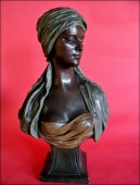 Bust of a young oriental woman signed thiele