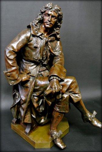Antiquités - Bronze moliere statue