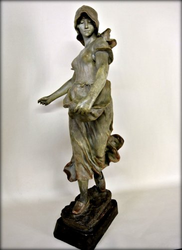 "20th century - ""Sowing"" statue in terracotta by CHERC"