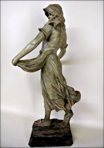 """Sowing"" statue in terracotta by CHERC - Art nouveau"