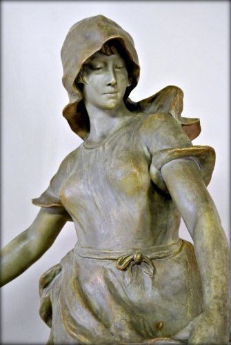 "Art nouveau - ""Sowing"" statue in terracotta by CHERC"