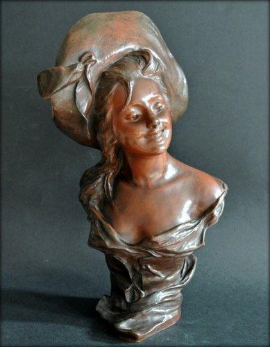 Sculpture  - VAN DER STRAETEN Statue of Art Nouveau period