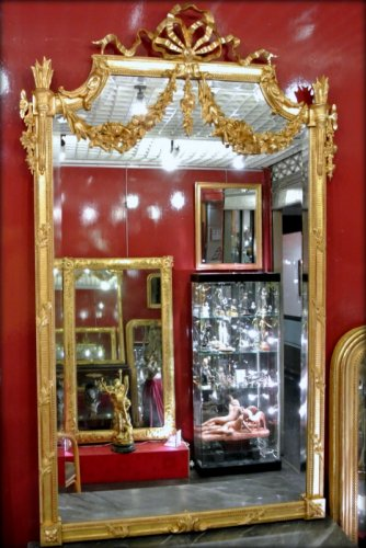 Mirror gilded with gold leaf, late 19th century - Mirrors, Trumeau Style Napoléon III