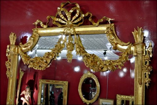 19th century - Mirror gilded with gold leaf, late 19th century