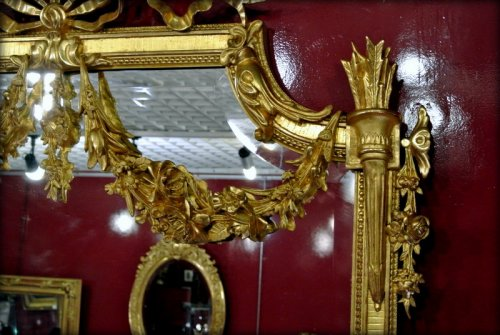 Mirror gilded with gold leaf, late 19th century - Napoléon III