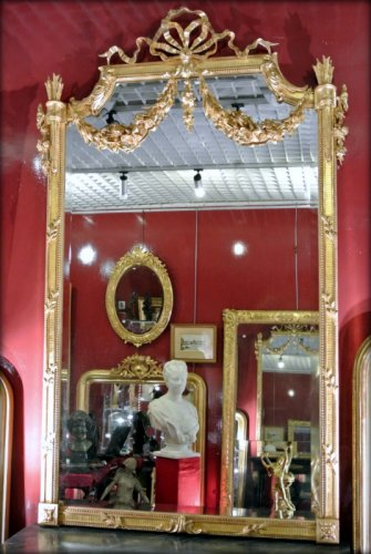 Antiquités - Mirror gilded with gold leaf, late 19th century