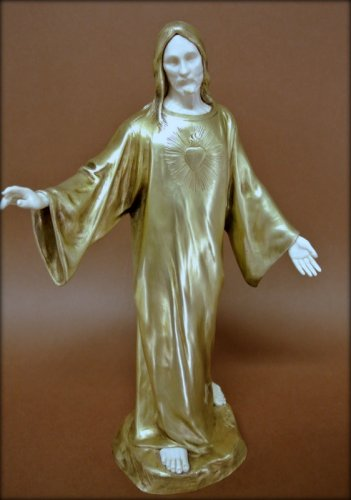 Sacred heart of Jesus, signed P Gasq  - Sculpture Style Art Déco