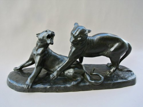"""Panthers"" bronze signed L RICHE"
