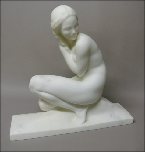 Antiquités - Marble sculpture signed J. Ortis
