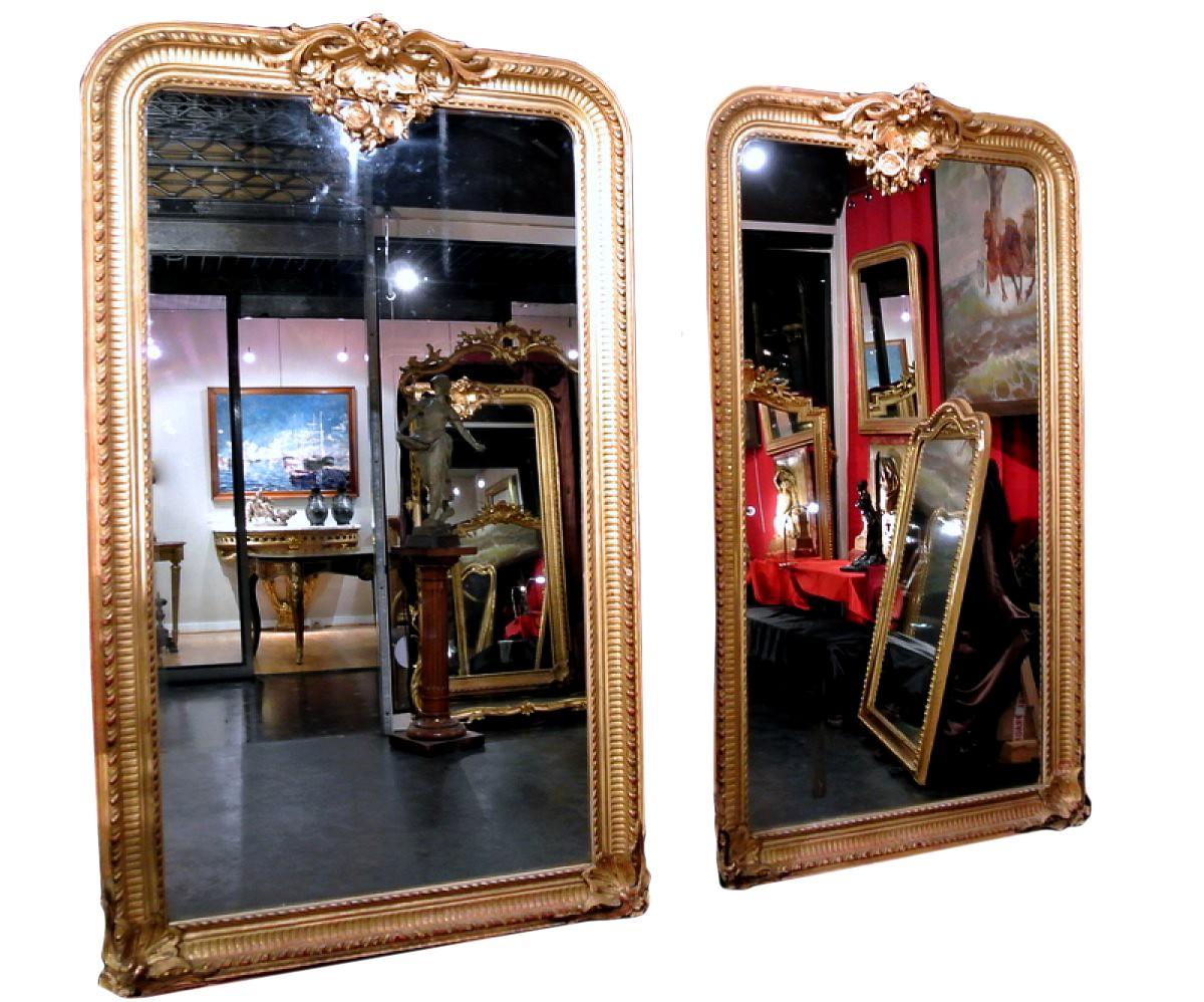Paire de grands miroirs xixe for Grands miroirs