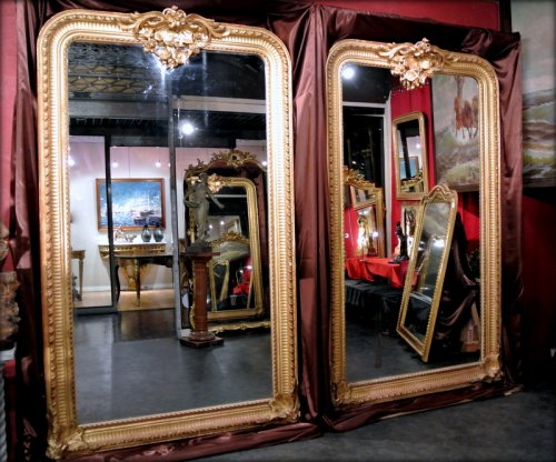 Pair of very large mirrors nineteenth - Mirrors, Trumeau Style Napoléon III