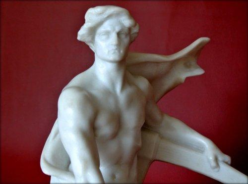 Art Déco - Carrara marble Sculpture by G COLIN
