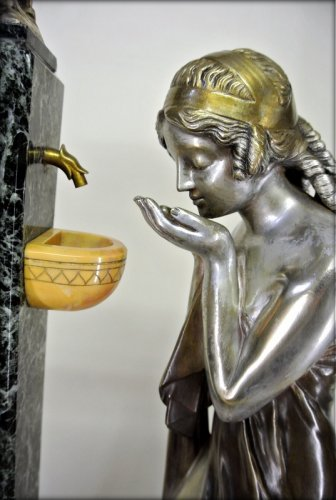 «Young woman at the Fountain of Cupid» by Charles Raphaël Peyre - Art nouveau