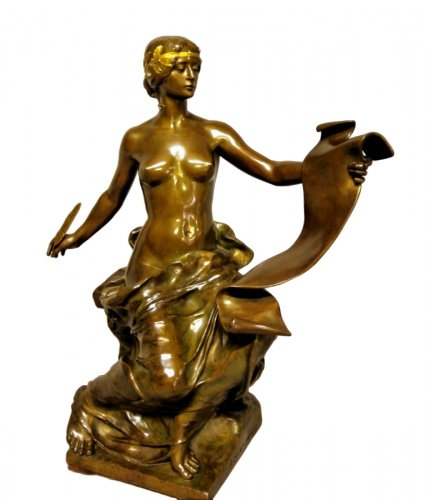 """Allégory of history"" Bronze signed Georges Bareau"