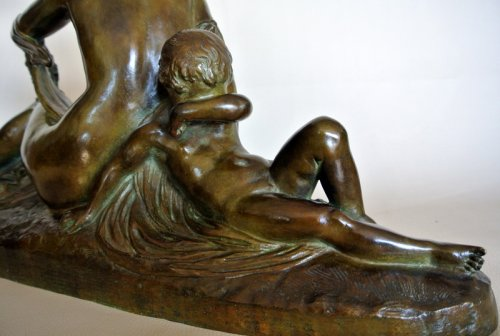 """Venus et Cupidon"" statue signed Joe Descomps - 50"