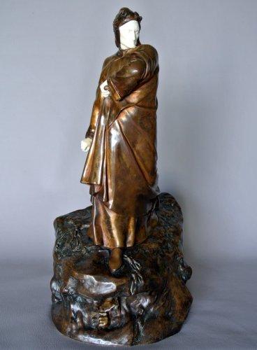 DANTE ALIGHIERI by Constant DELAIGUE - Sculpture Style Art nouveau