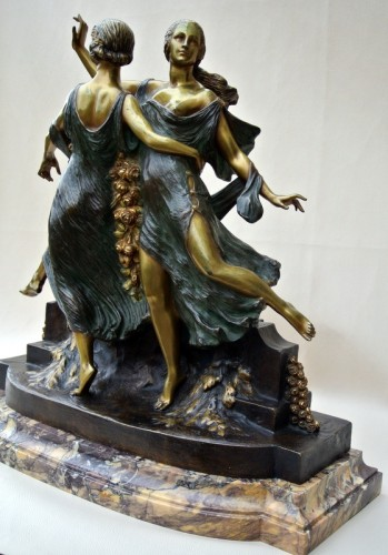 Art nouveau - Art-Nouveau statue signed J D Guirande ( Joe Descomps)