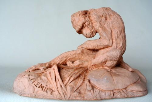 Terracotta signed E FREMIET (Emmanuel Frémiet 1824/1910) - Sculpture Style Art nouveau