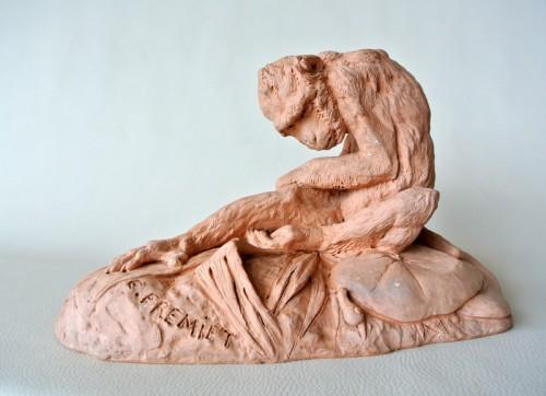 Antiquités - Terracotta signed E FREMIET (Emmanuel Frémiet 1824/1910)