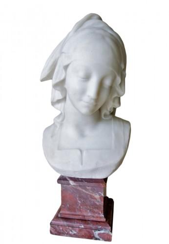 """Vestale"" marble signed Fernand Cian 1886/1954"