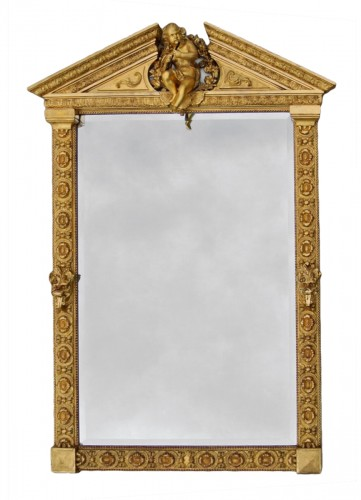 Mirror with putto musician end of nineteenth century