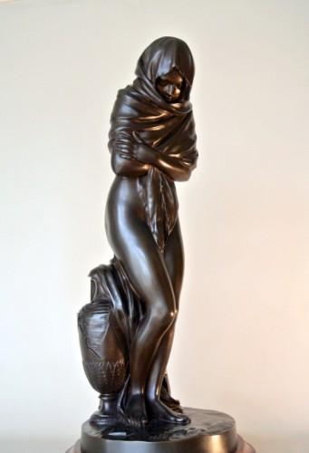 "Sculpture  - ""La Frileuse"" Bronze figure after Houdon"