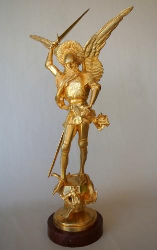 """""""Saint Michel"""" par Emmanuel Frémiet 1824/1910 - Sculpture Style Art nouveau"""
