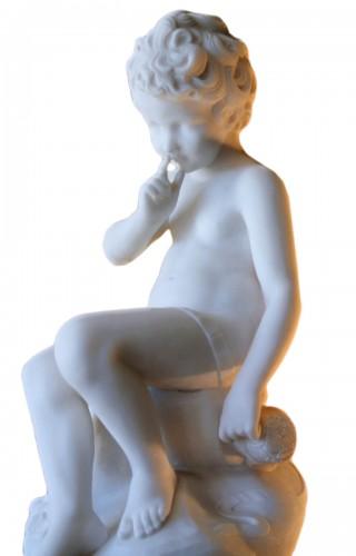 Carrara marble sculpture - Alessandro POMI (1890 - 1976)