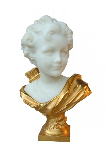 Marbre and bronze bust by Léonard Agathon