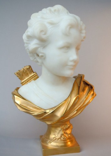 Marbre and bronze bust by Léonard Agathon - Sculpture Style Art Déco